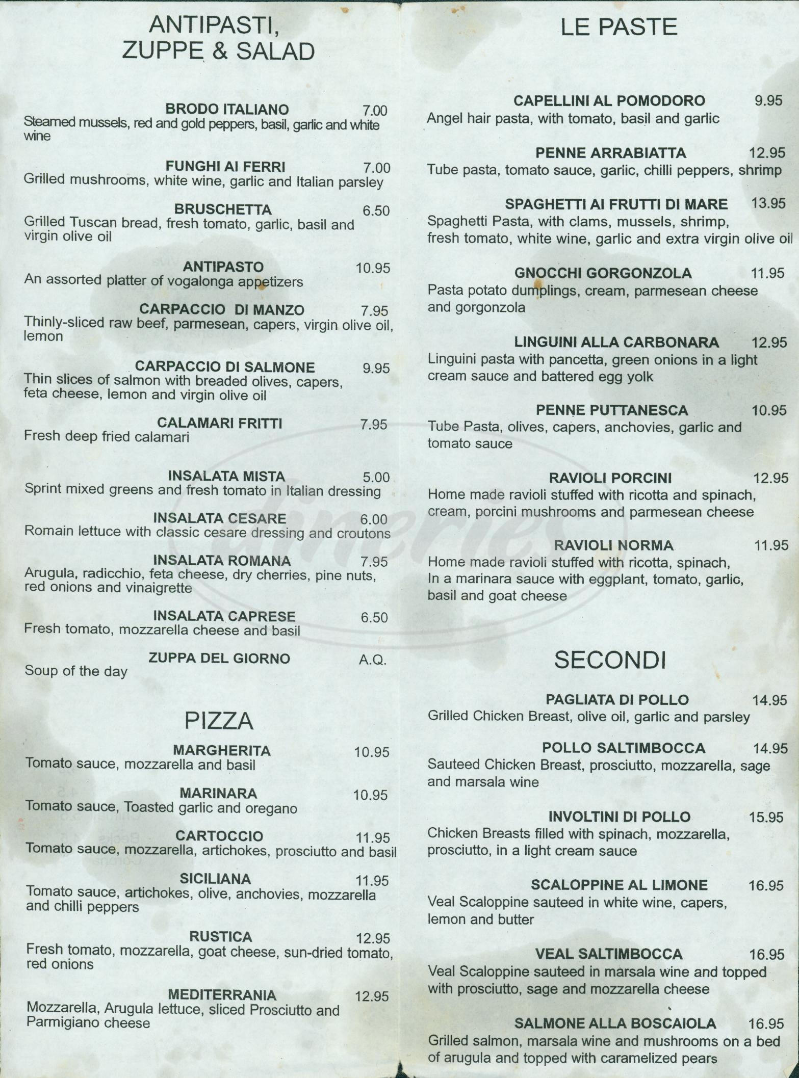 menu for Vogalonga Trattoria