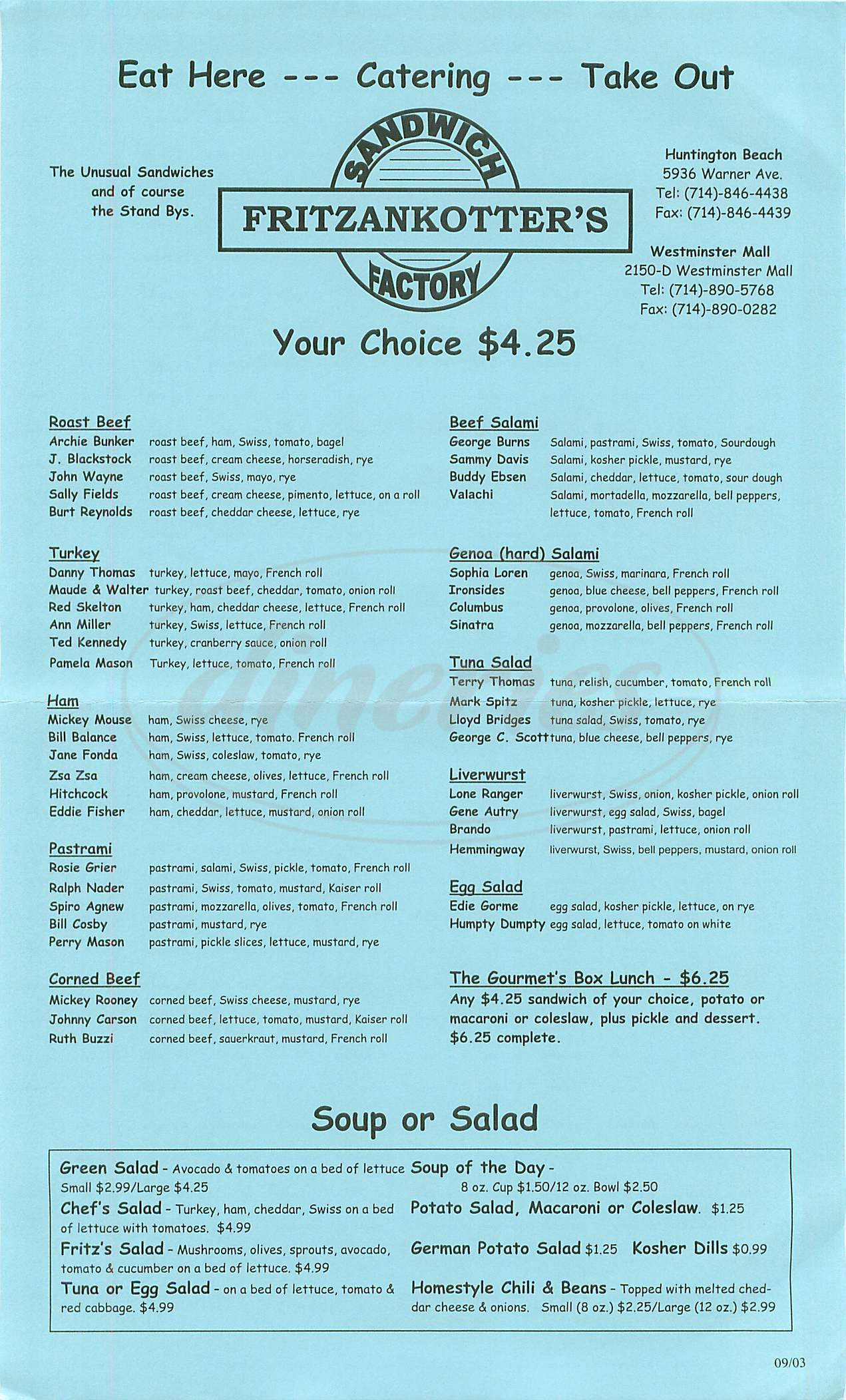 menu for Fritzankotters Sandwich Factory
