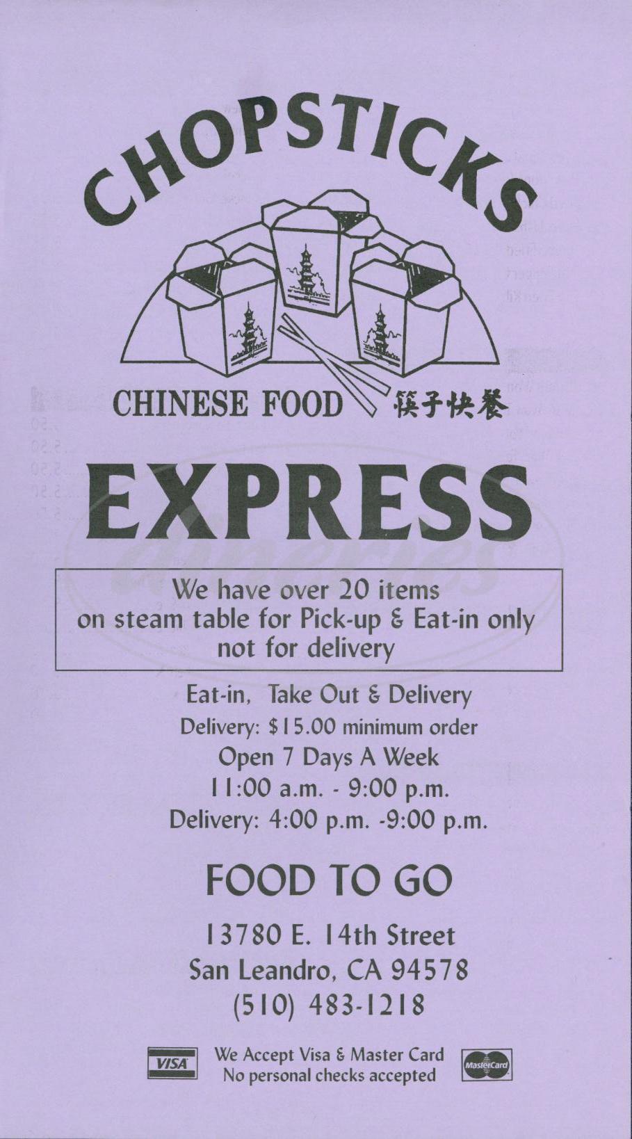menu for Chopsticks Express