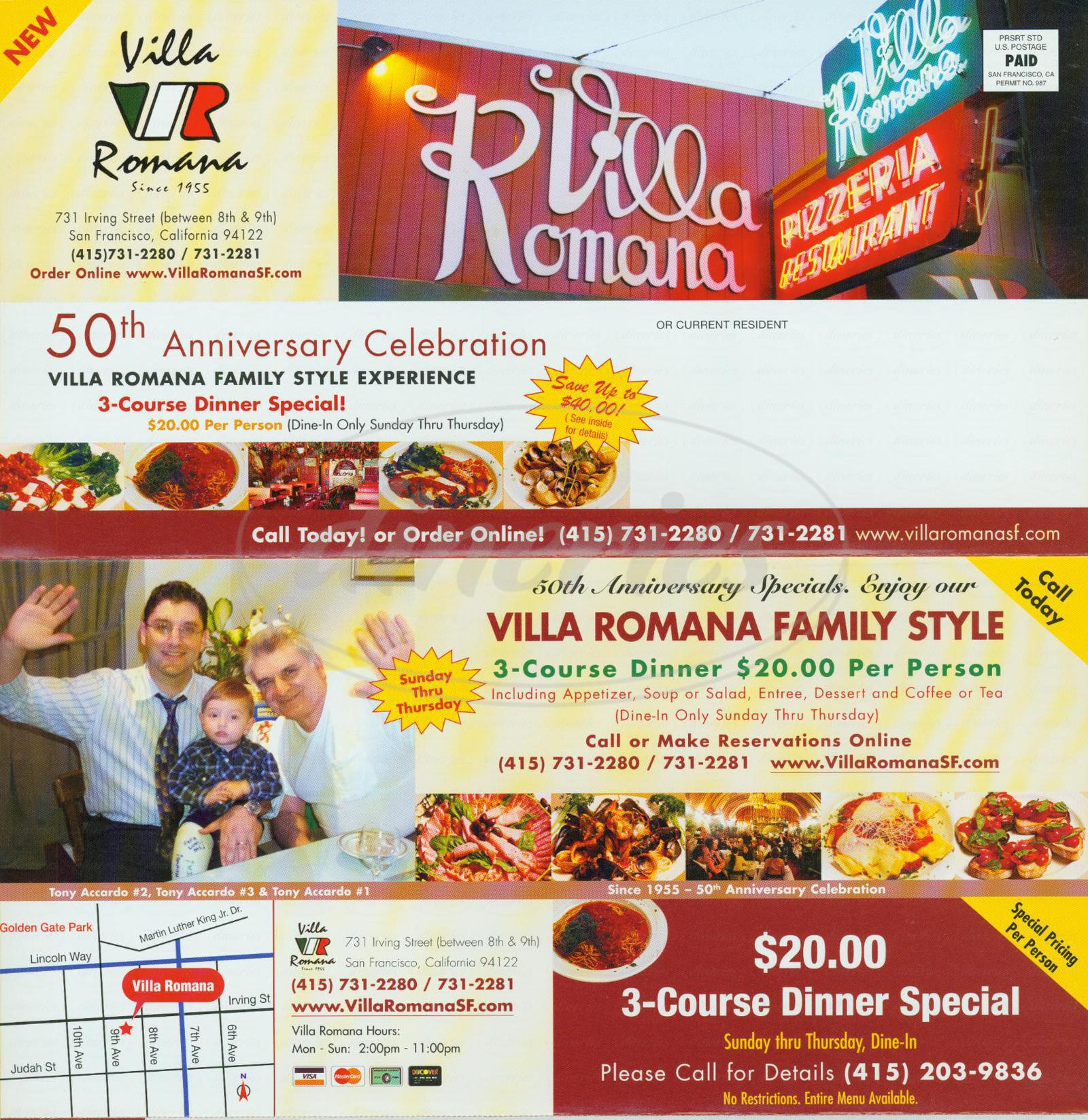 menu for Villa Romana Pizzeria
