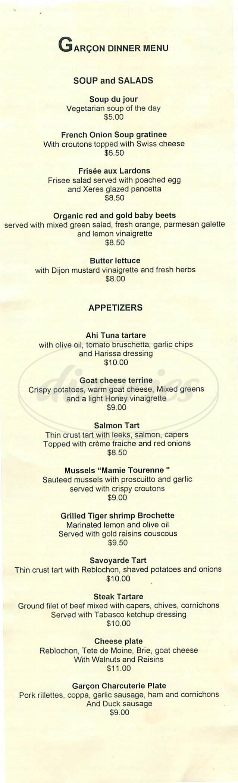 menu for Garcon