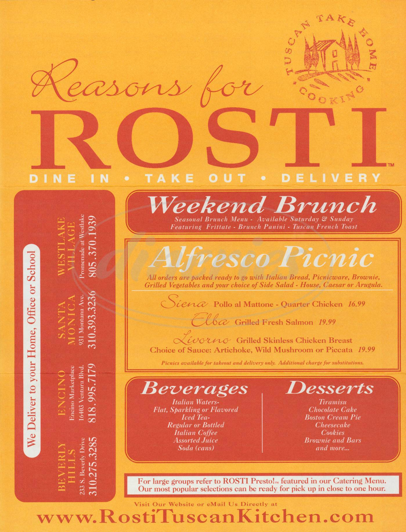 menu for Rosti