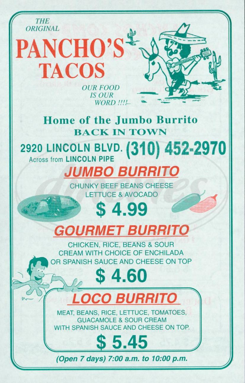 menu for Pancho's Tacos