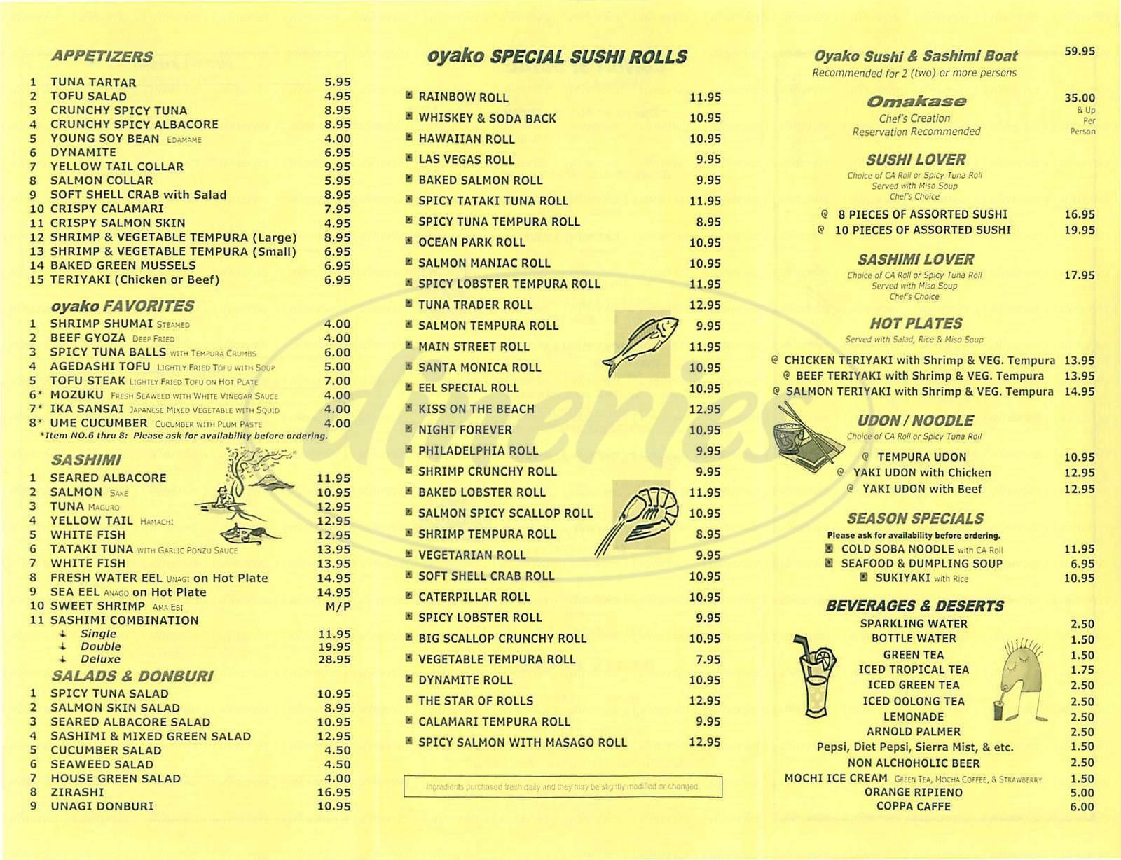 menu for Oyako
