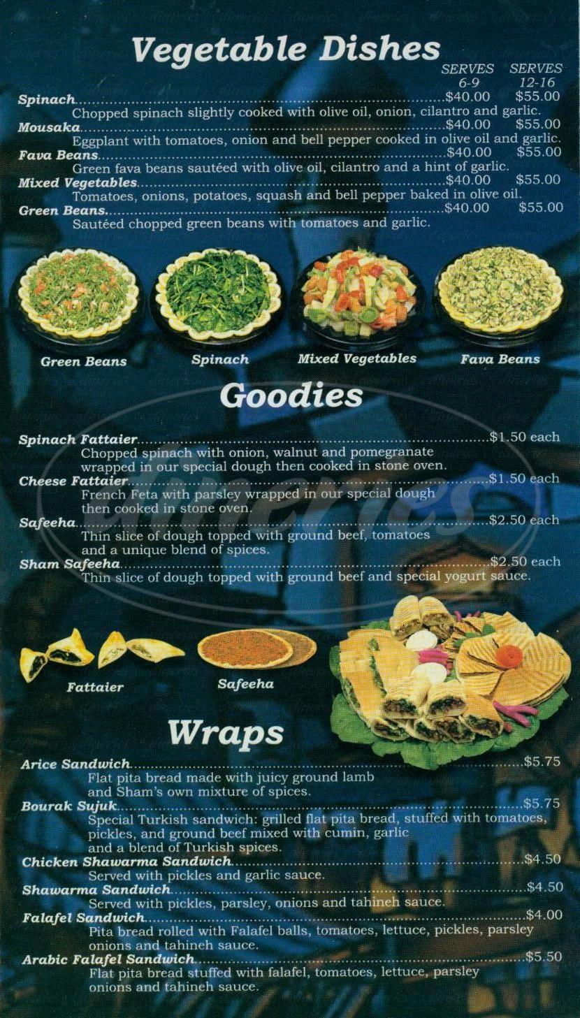 menu for Sham Restaurant