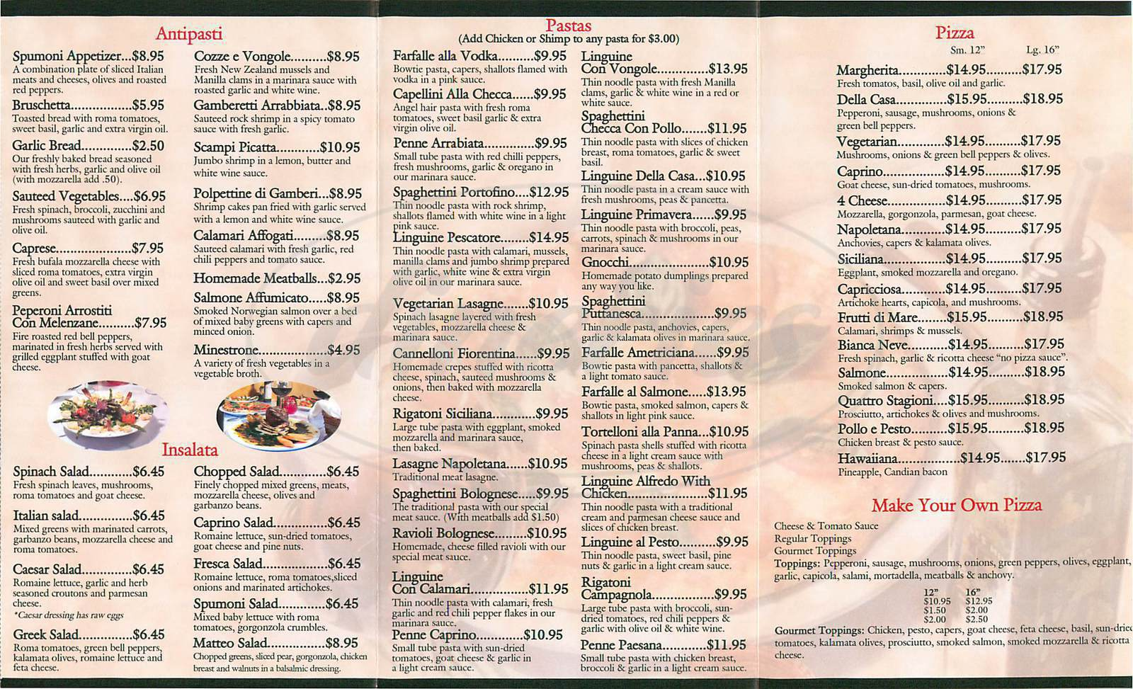 menu for Spumoni Italian Cafe
