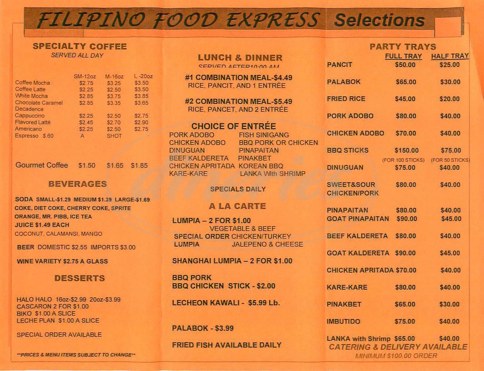 menu for Filipino Food Express
