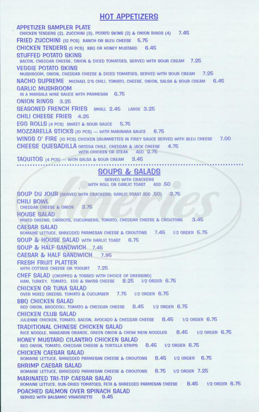 menu for Michael D's Café & Catering
