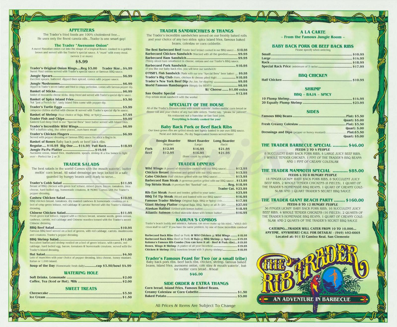 menu for The Rib Trader