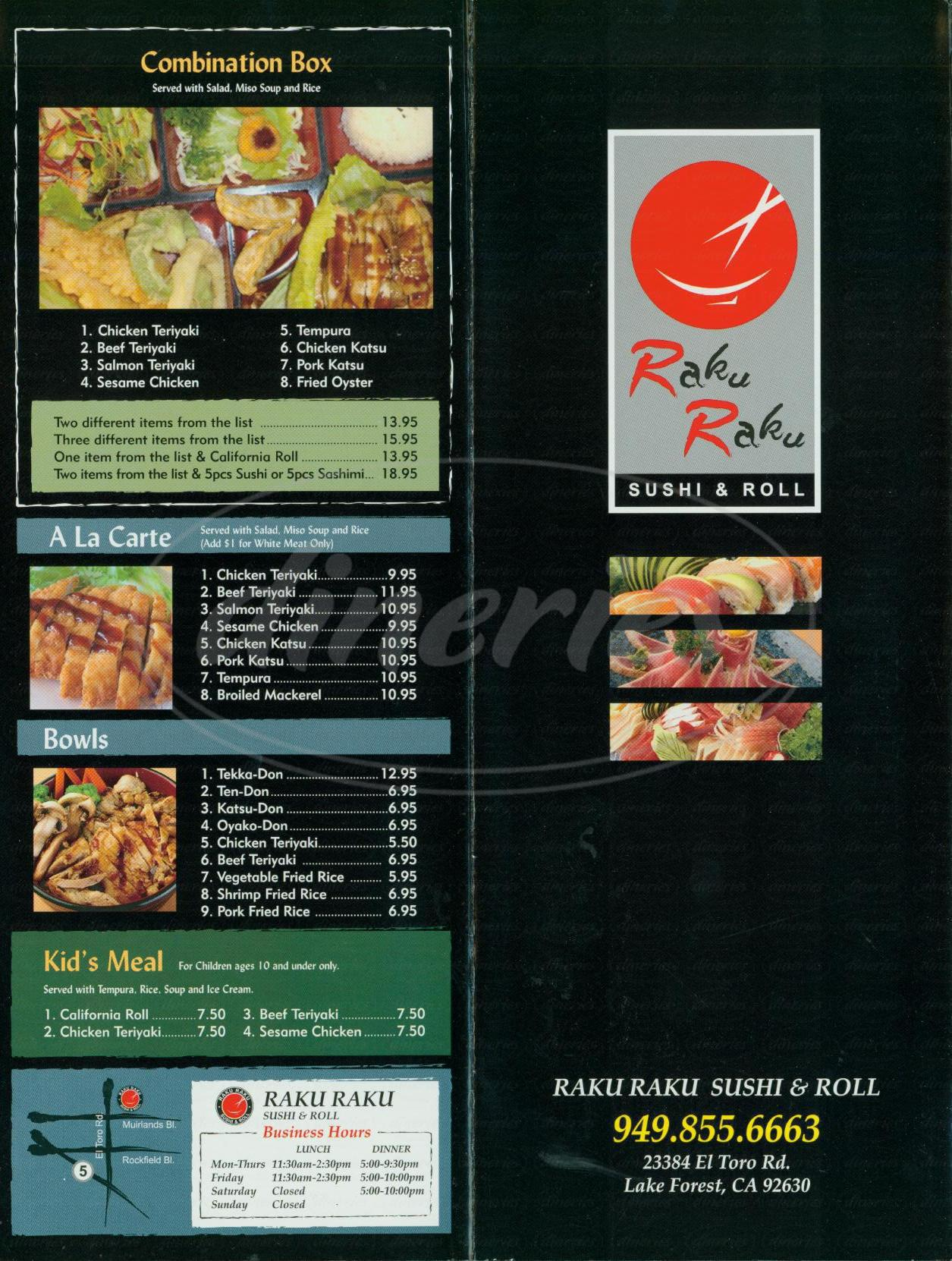 menu for Raku Raku Sushi & Roll