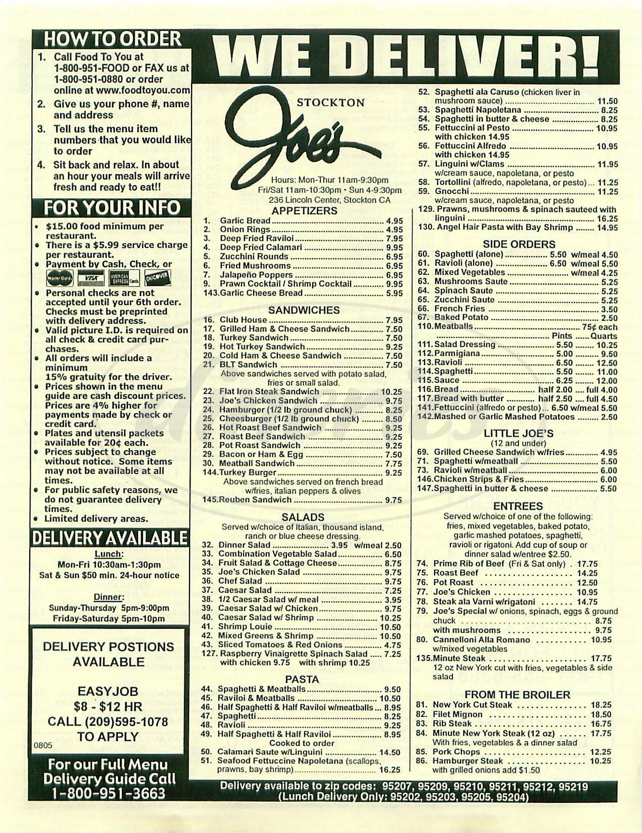 menu for Stockton Joes