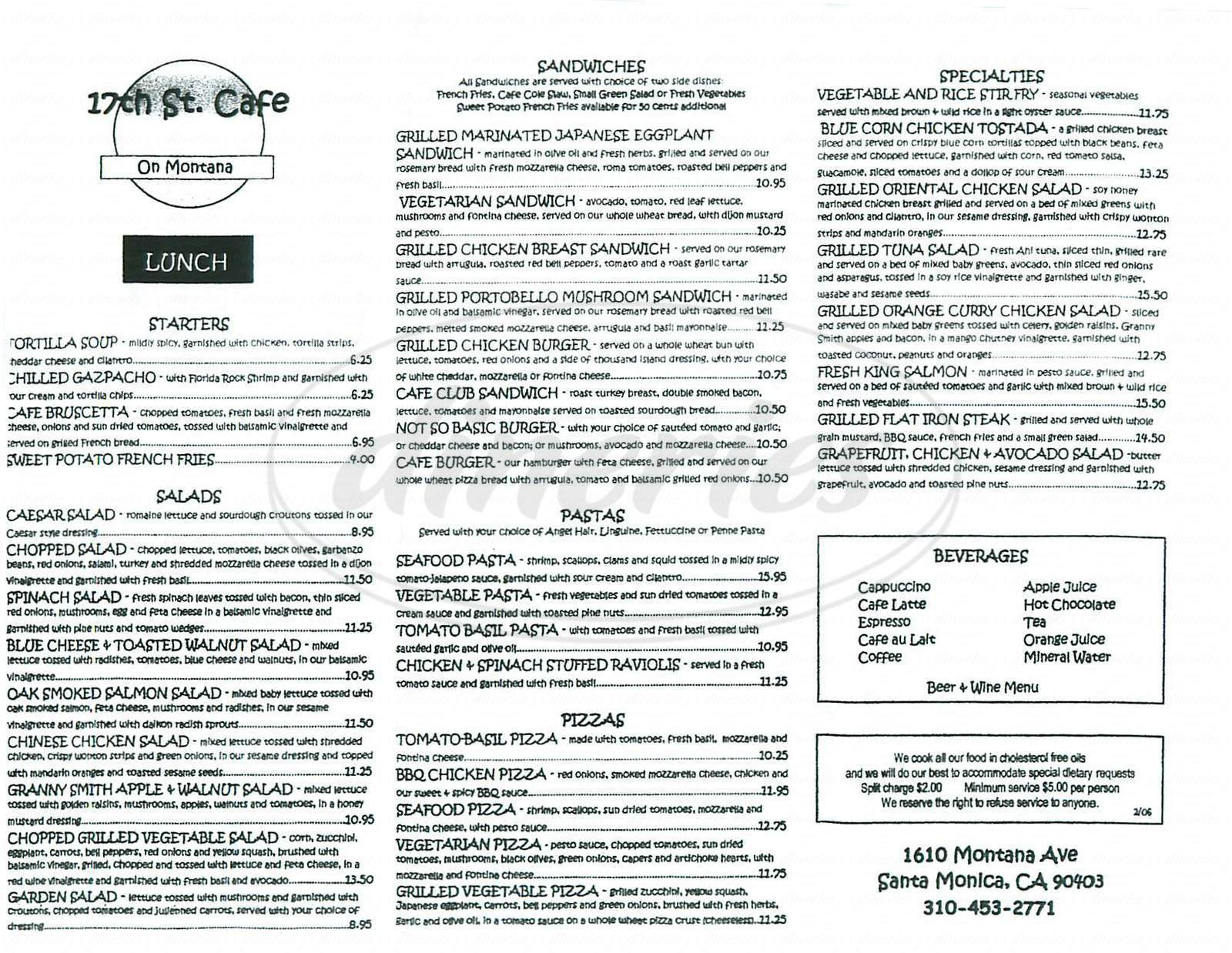menu for 17th St. Café