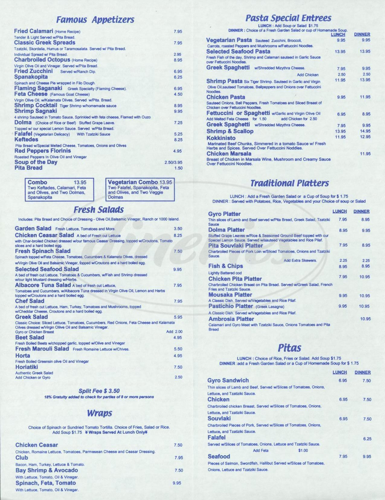 menu for Café Ambrosia