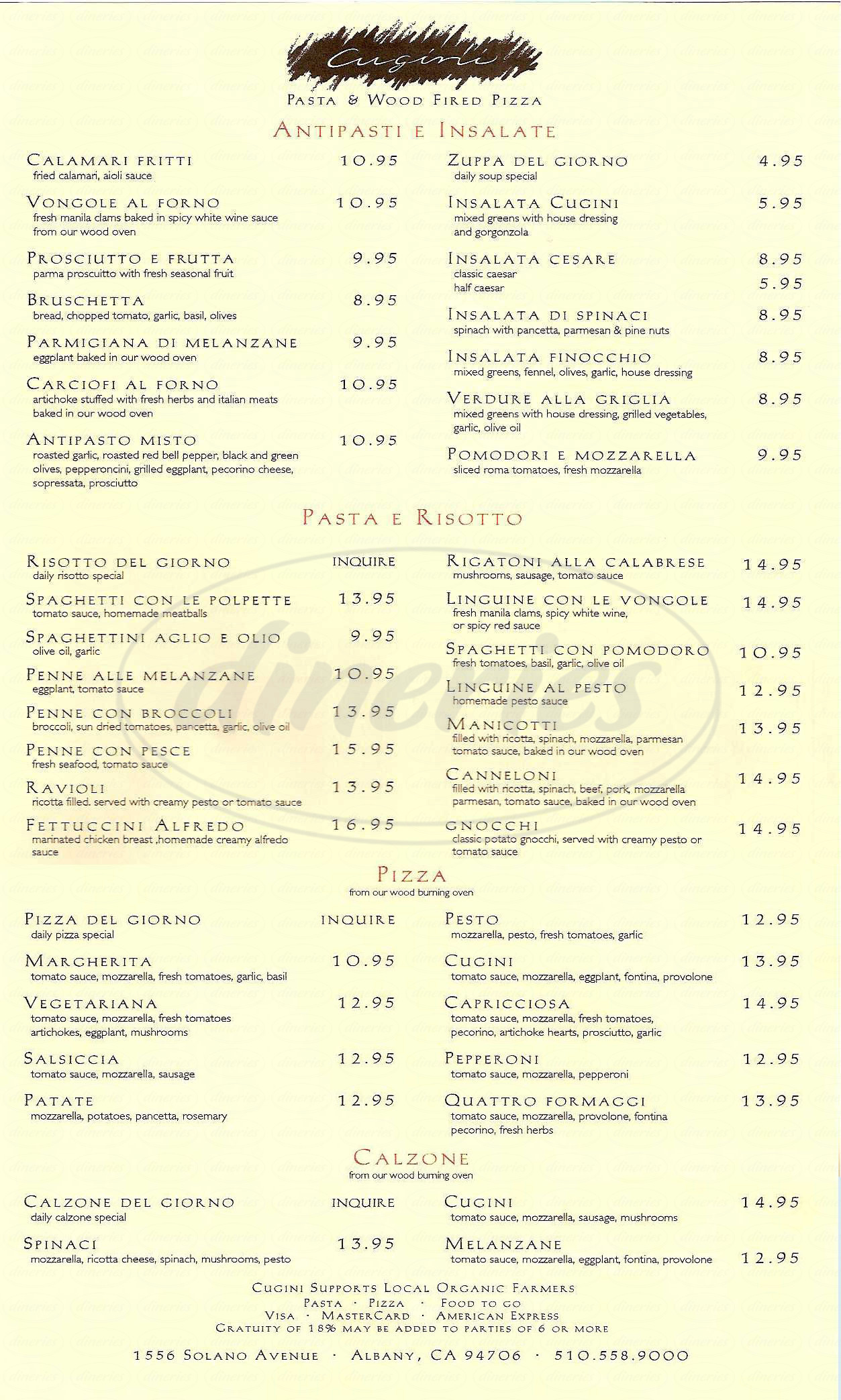 menu for Cugini Restaurant