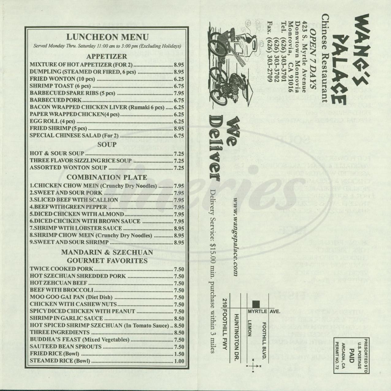 menu for Wangs Palace