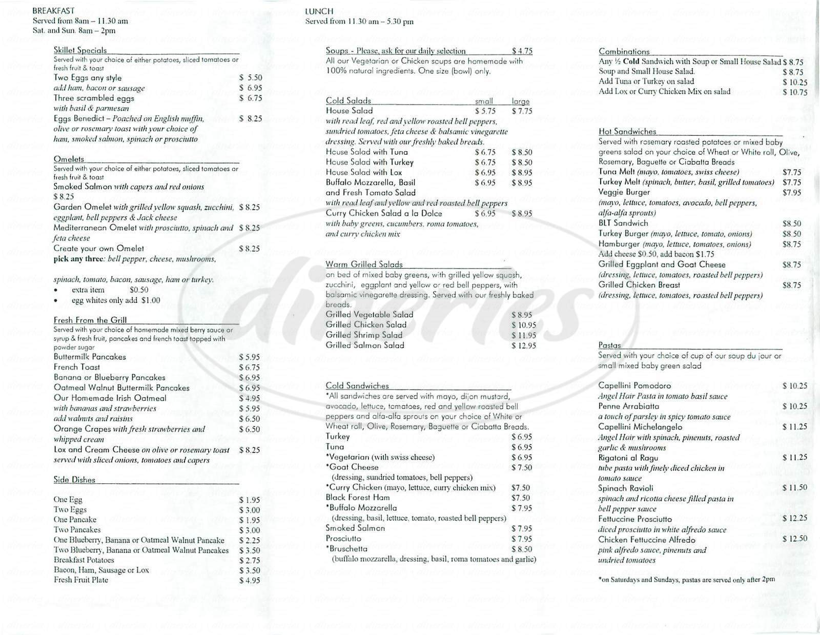 menu for Il Dolce Café