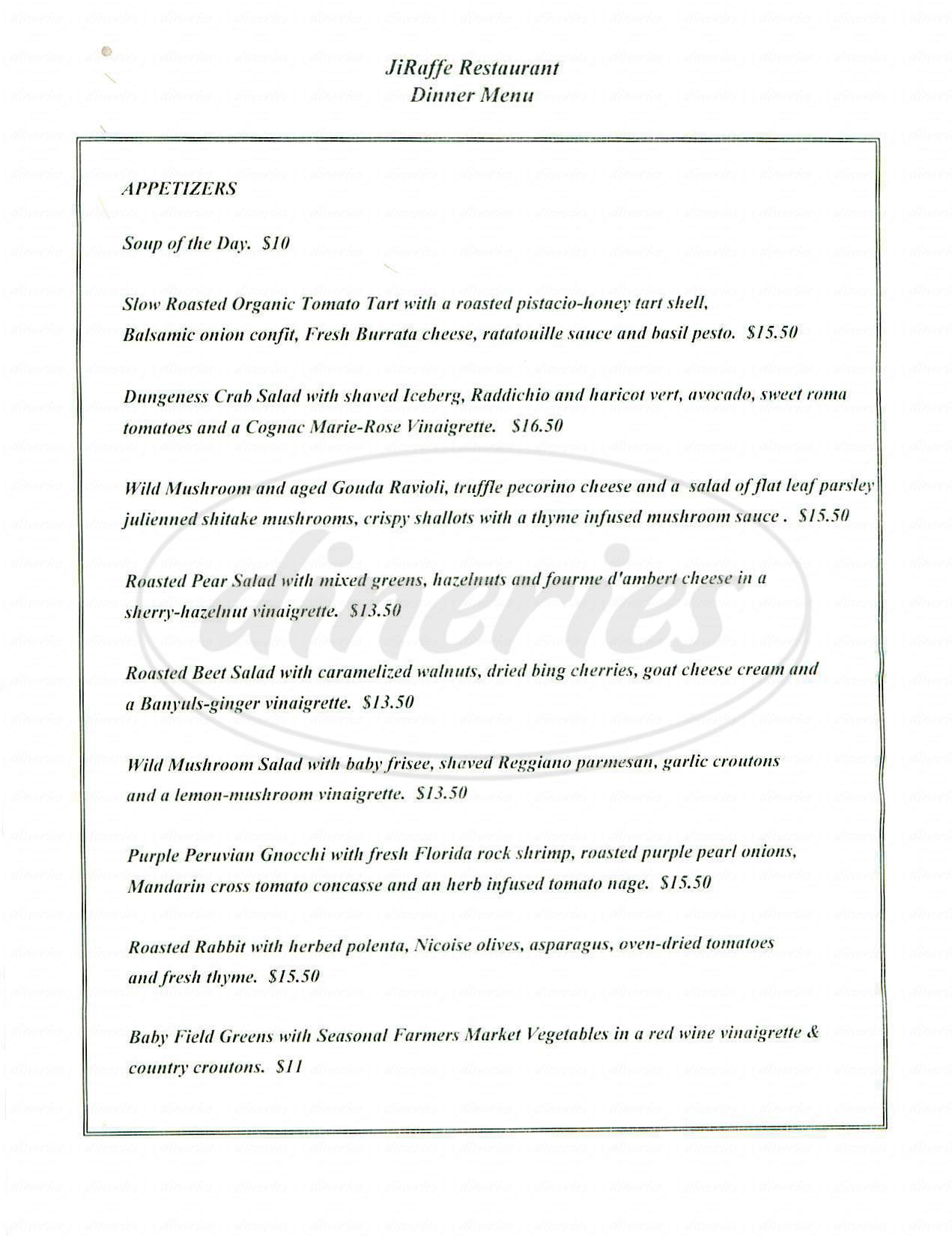 menu for JiRaffe Restaurant