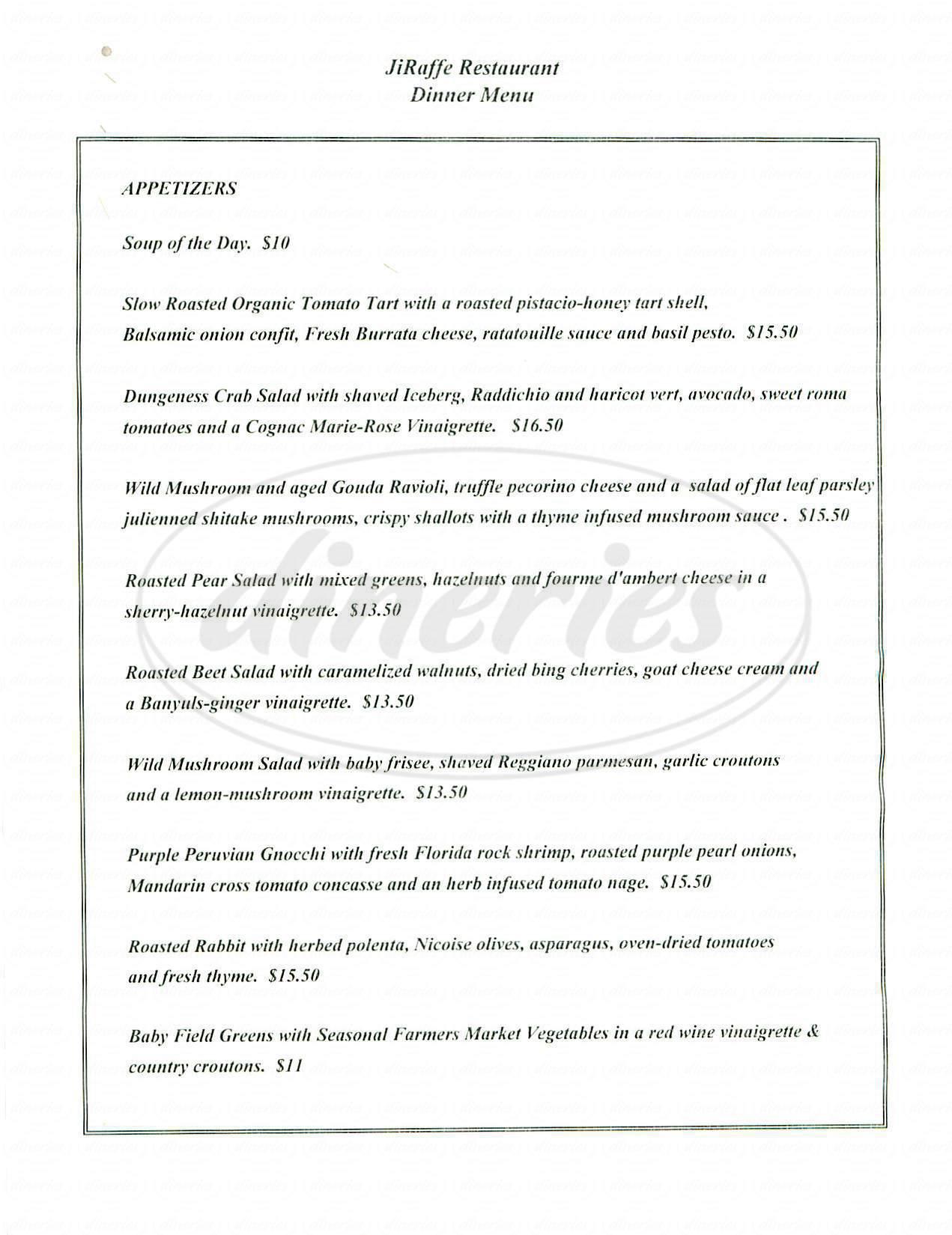 menu for JiRaffe Restaurant