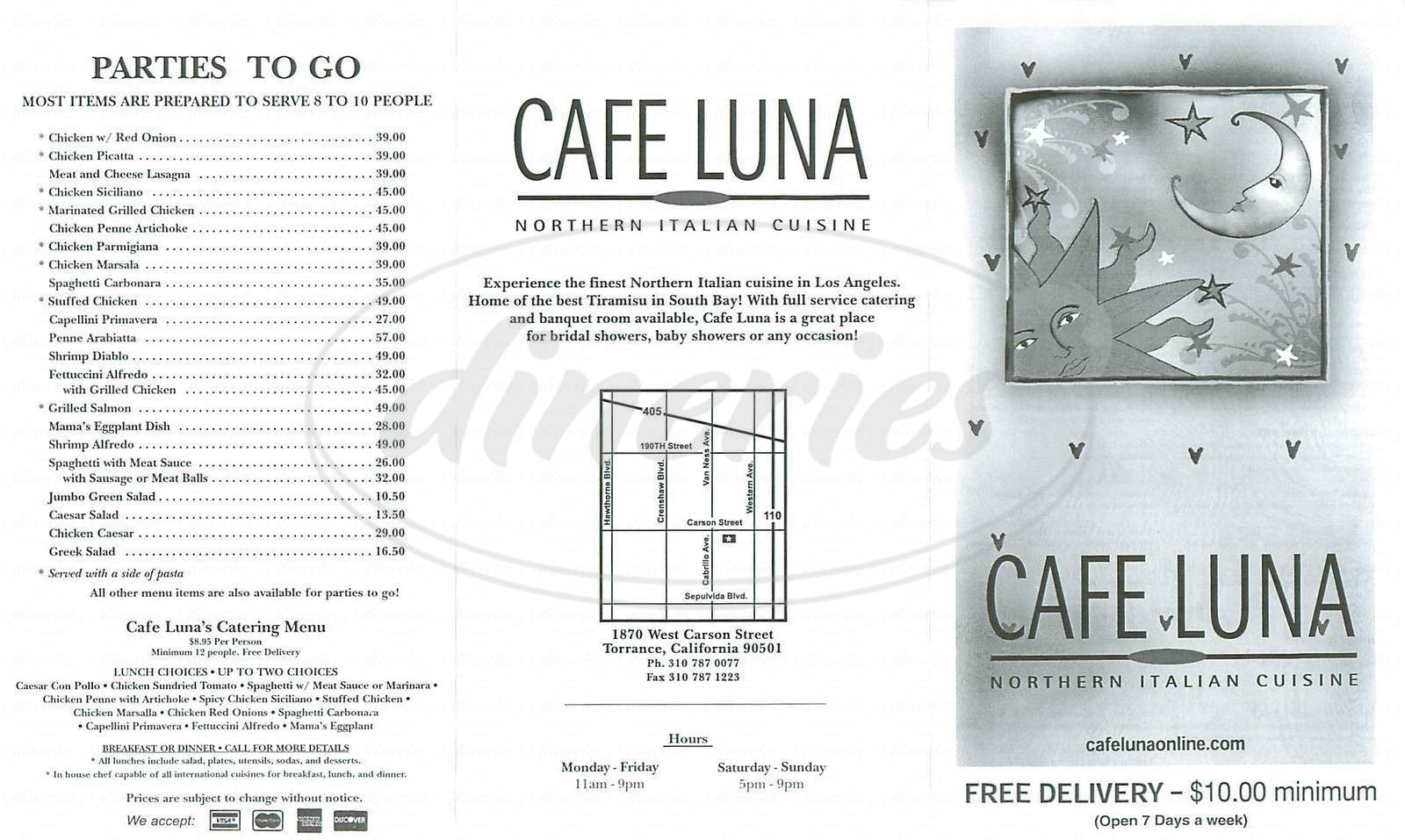 menu for Café Luna