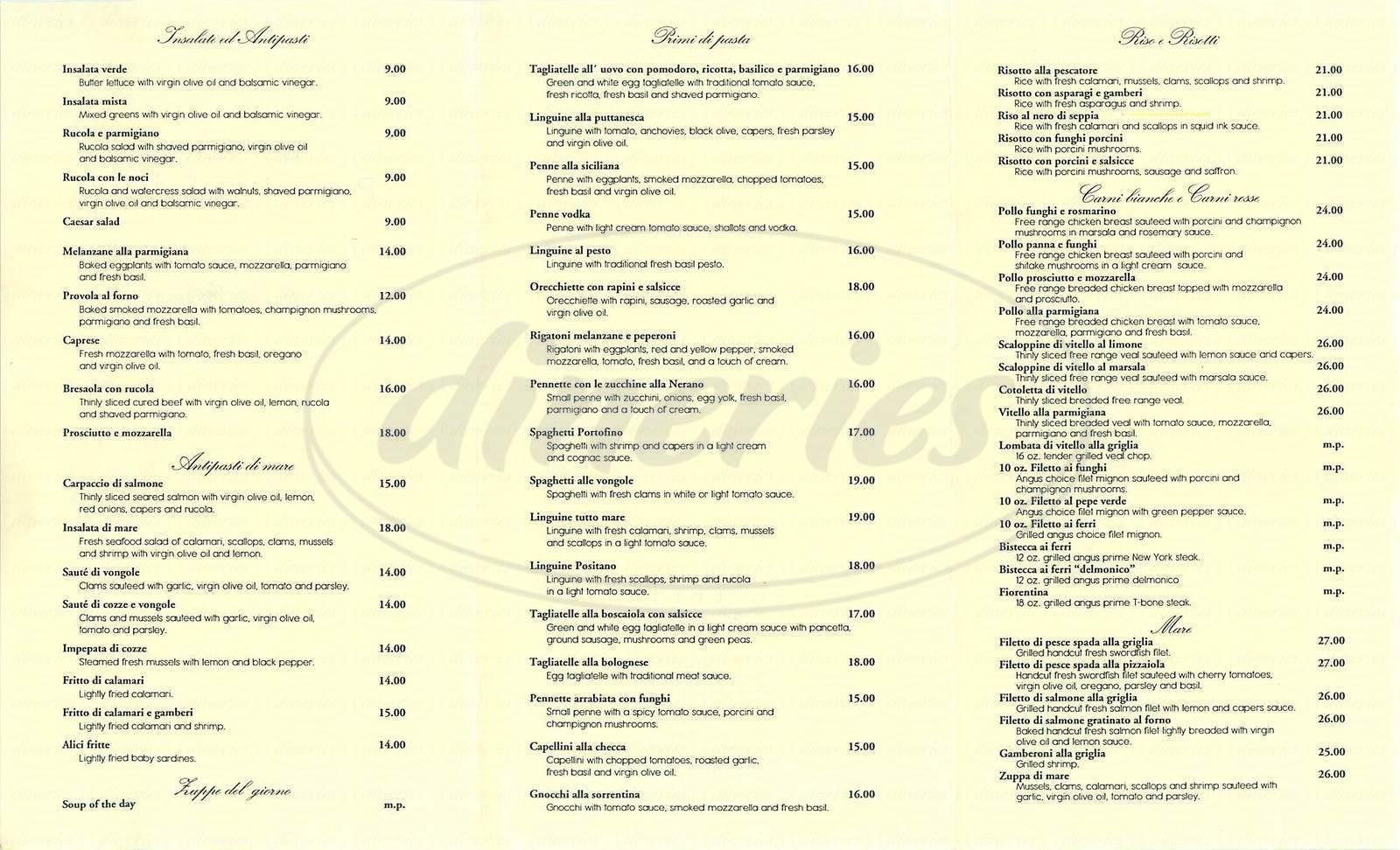 menu for Locanda Portofino