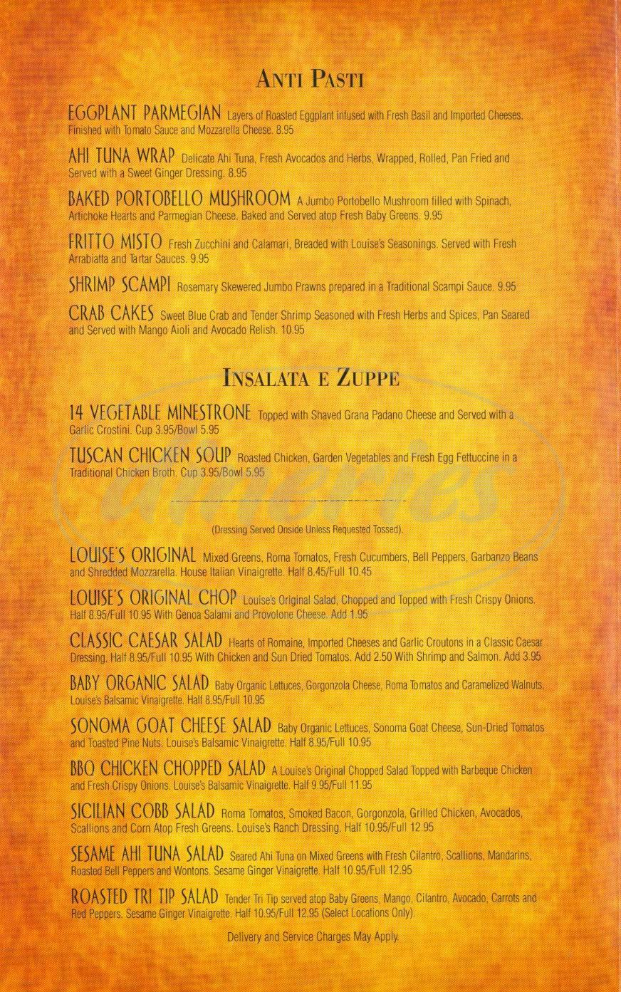 menu for Louises Trattoria