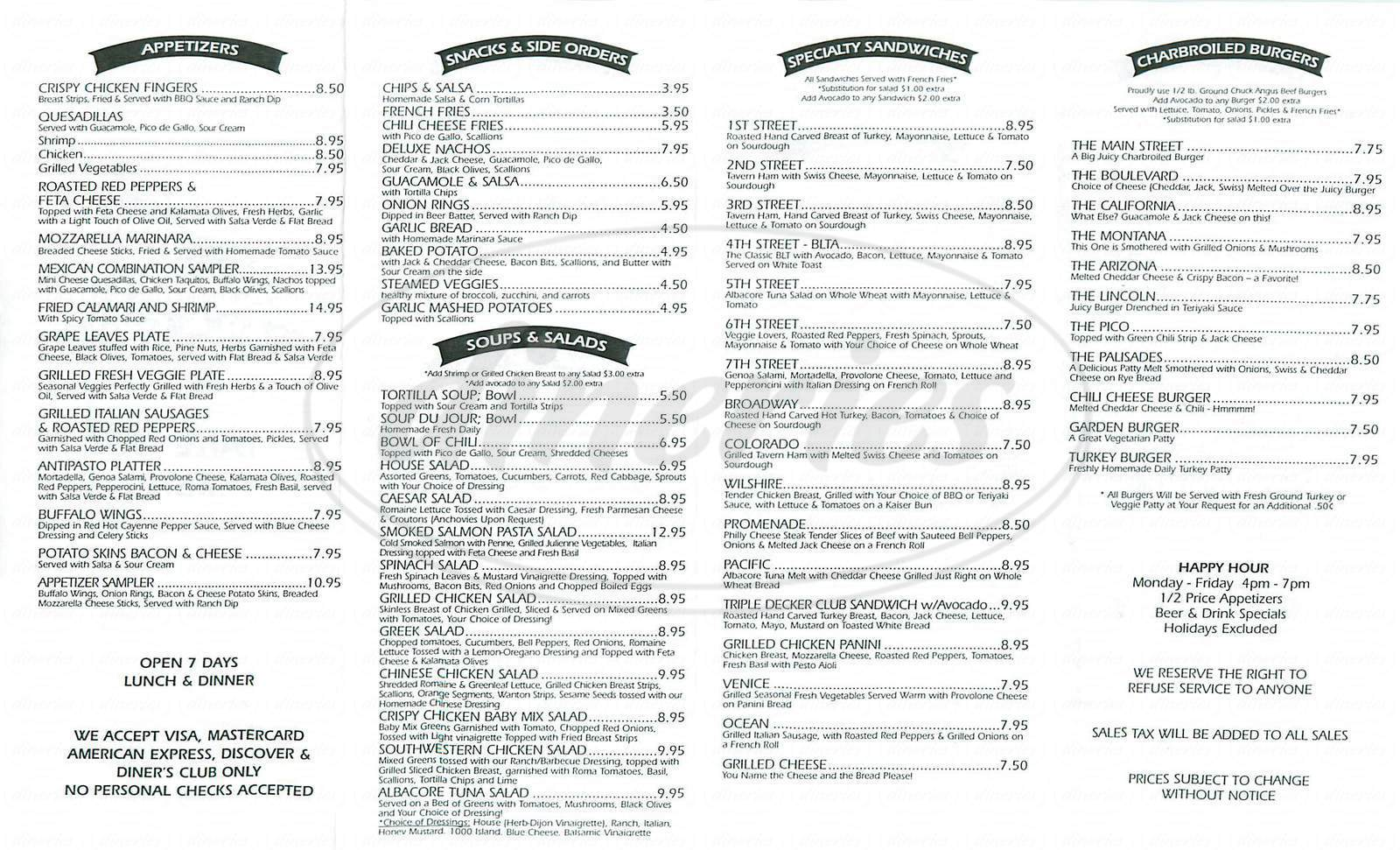 menu for Sunset Bar & Grill