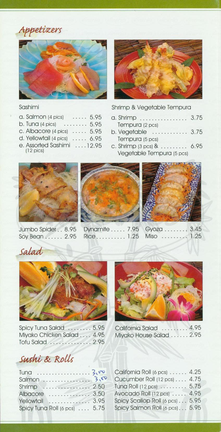 menu for Miyako Restaurant