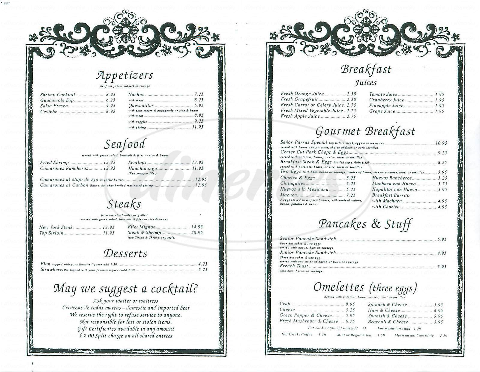 menu for Lares Restaurant