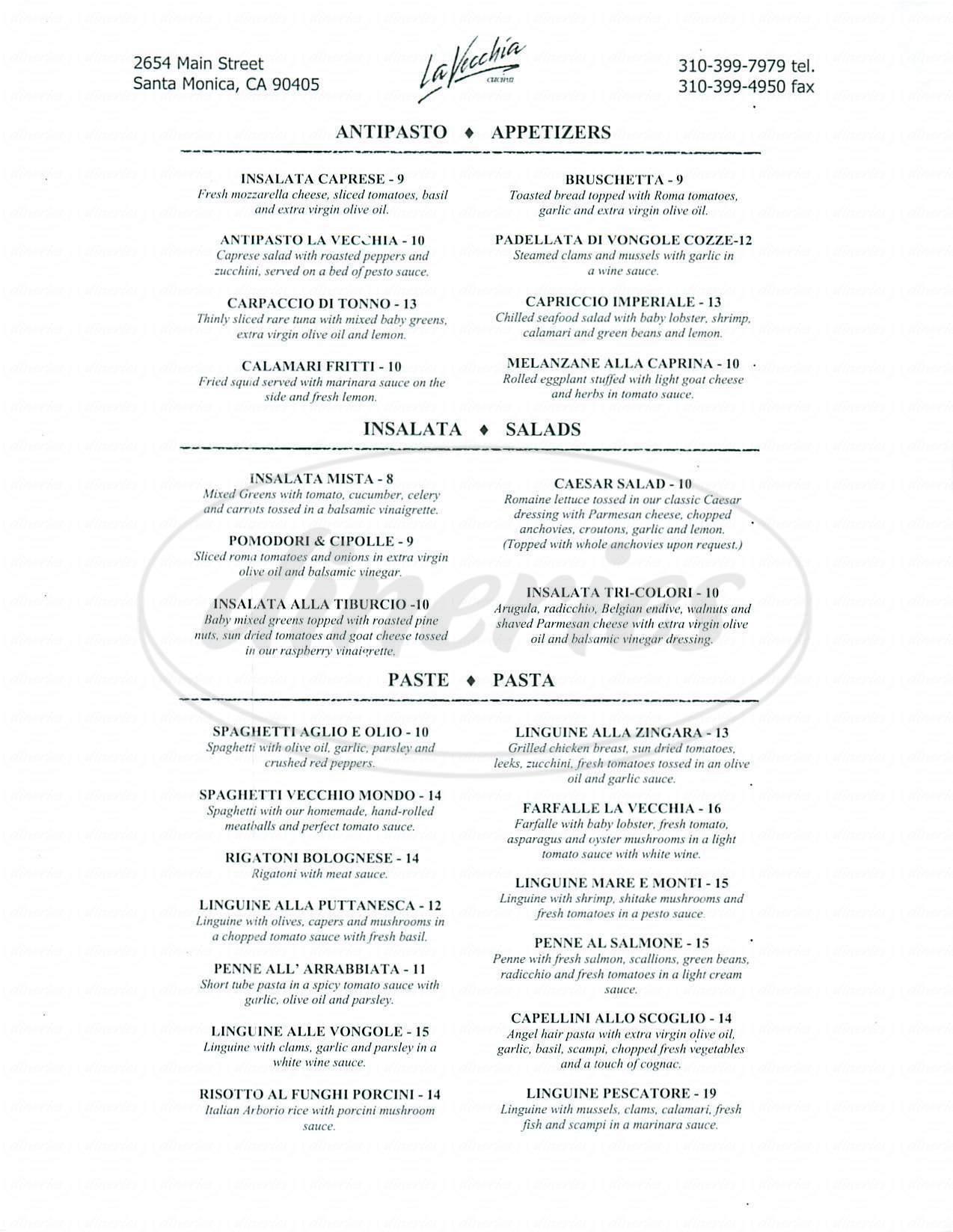 menu for La Vecchia Cucina