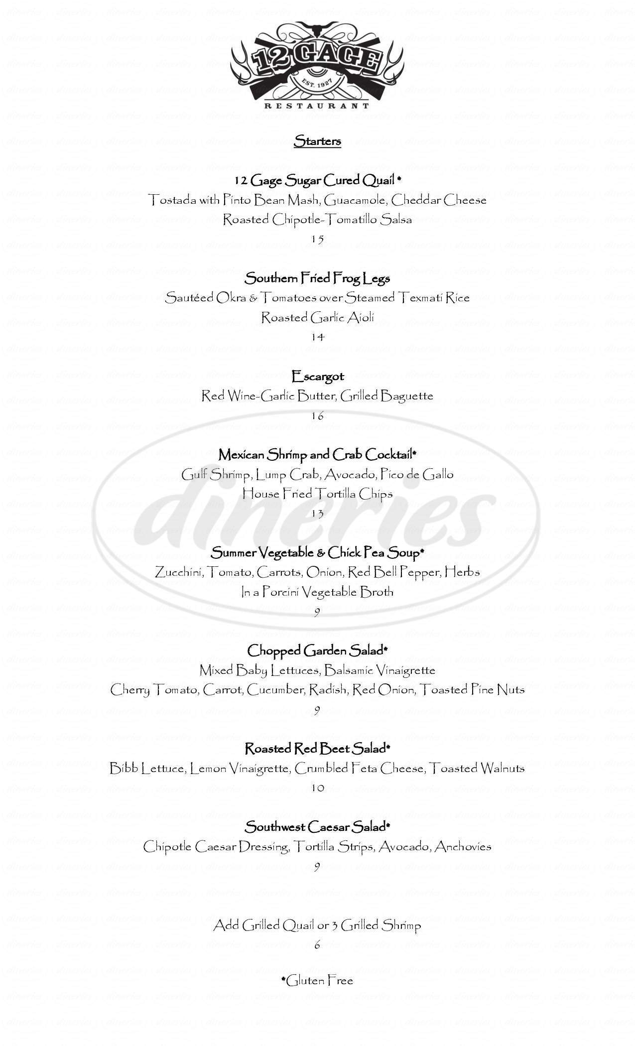 menu for Cafe Cenizo