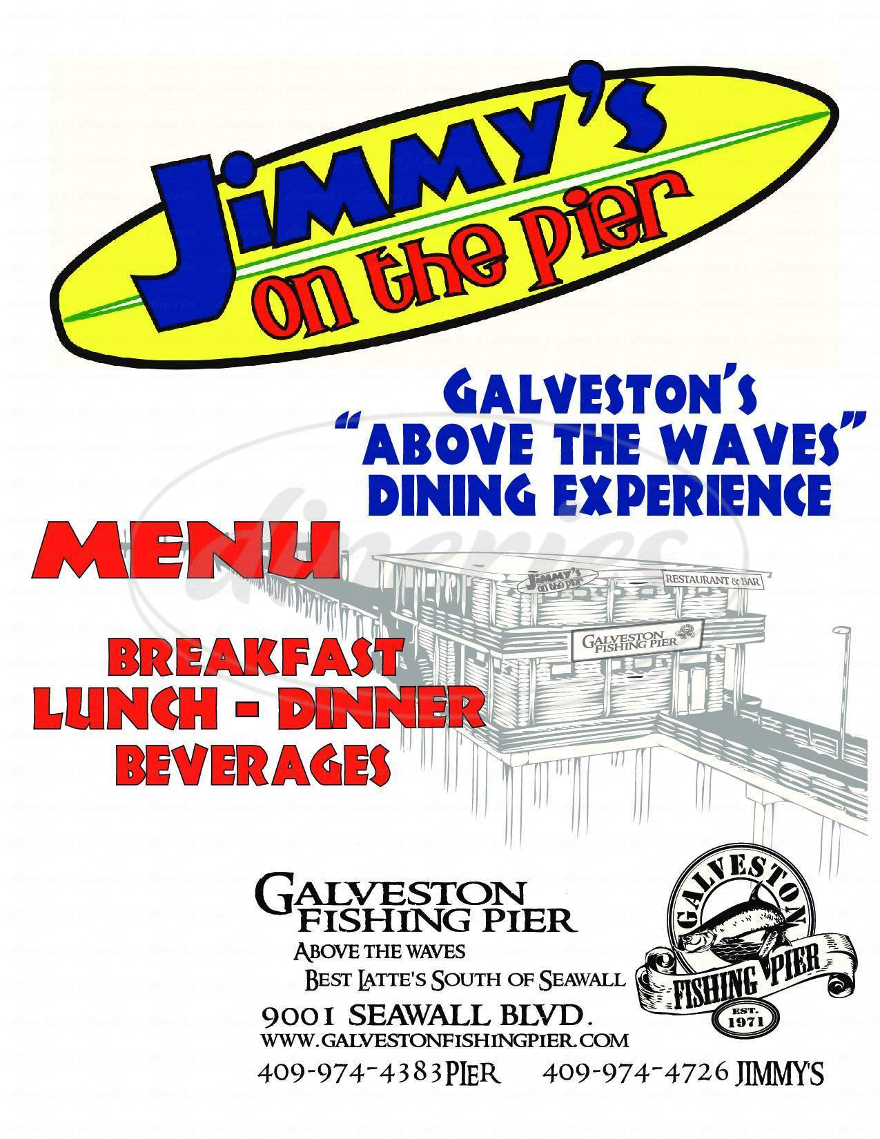 menu for Jimmy's on the Pier