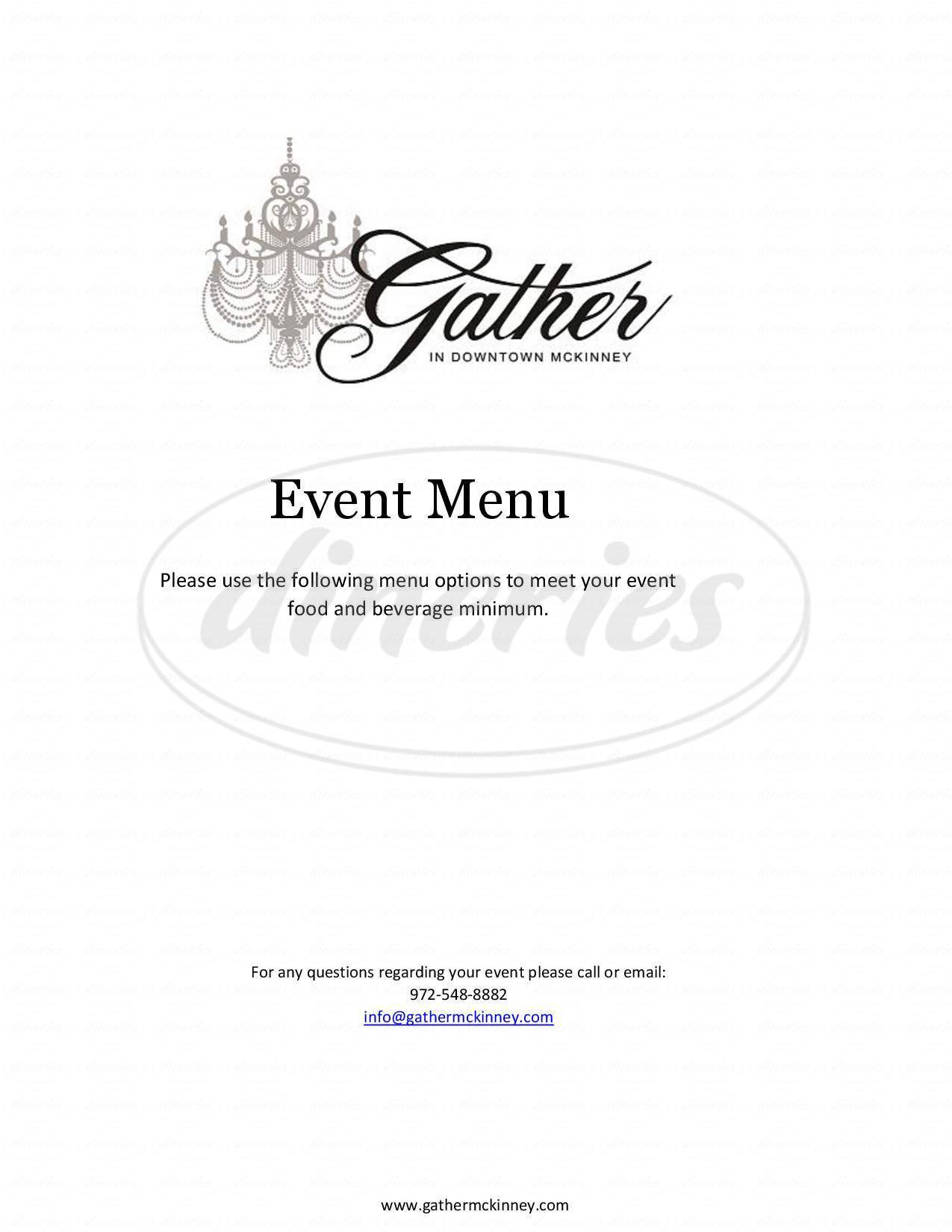 menu for Gather in Downtown McKinney
