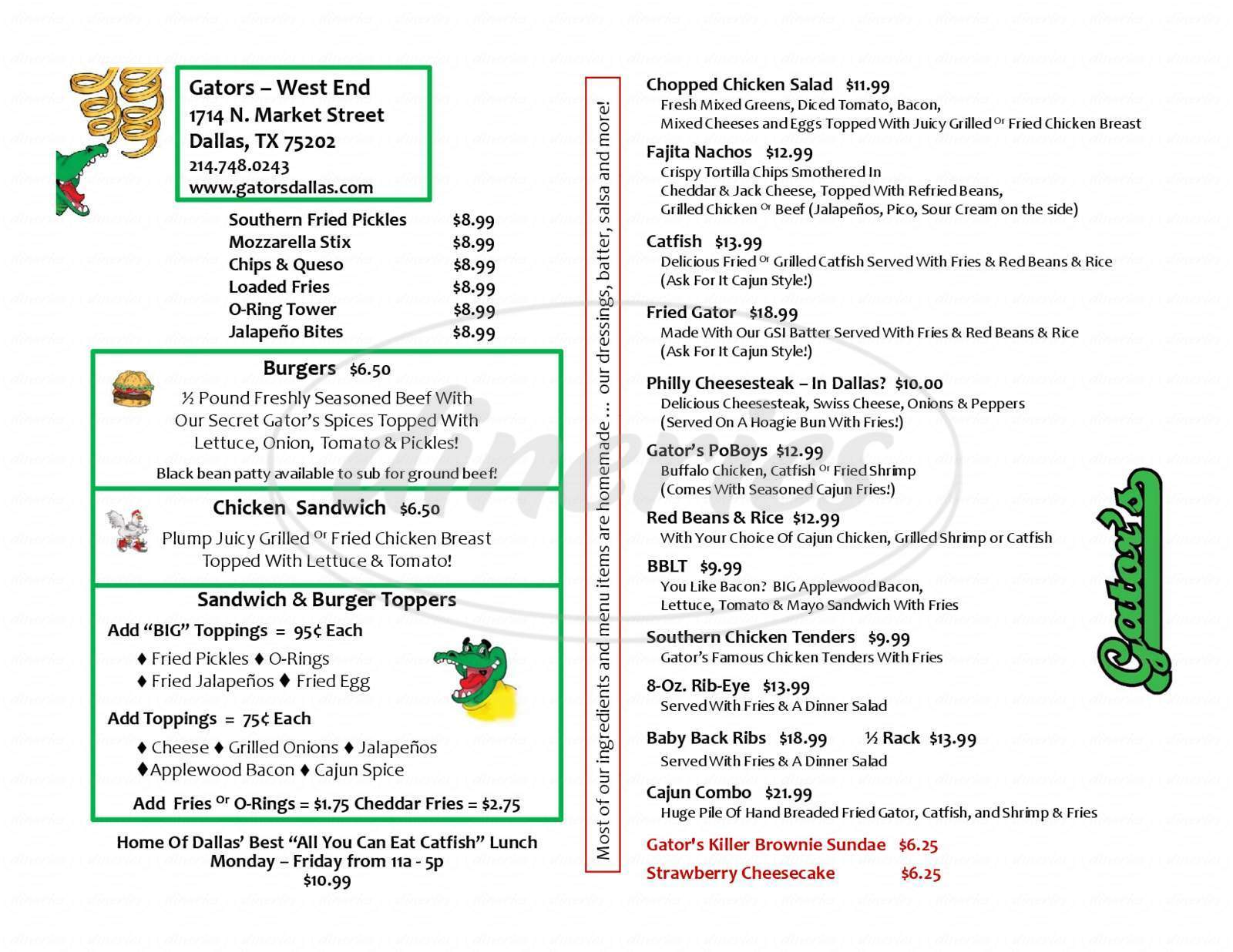menu for Gator's Bar & Grill