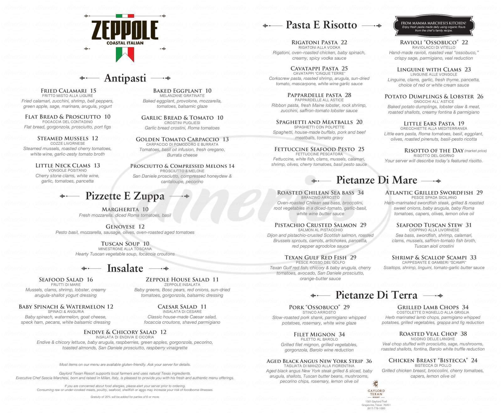 menu for Zeppole