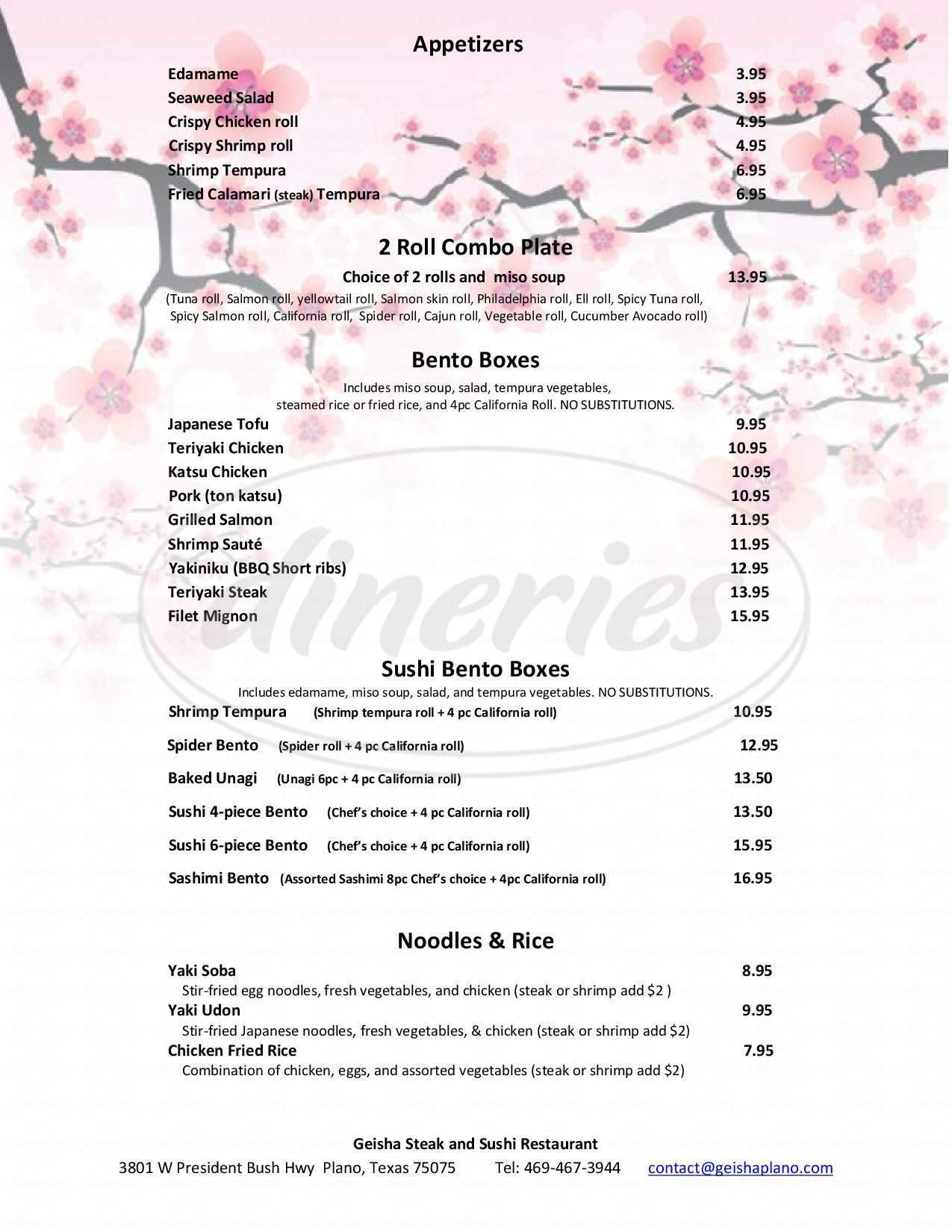 menu for Geisha Steak and Sushi