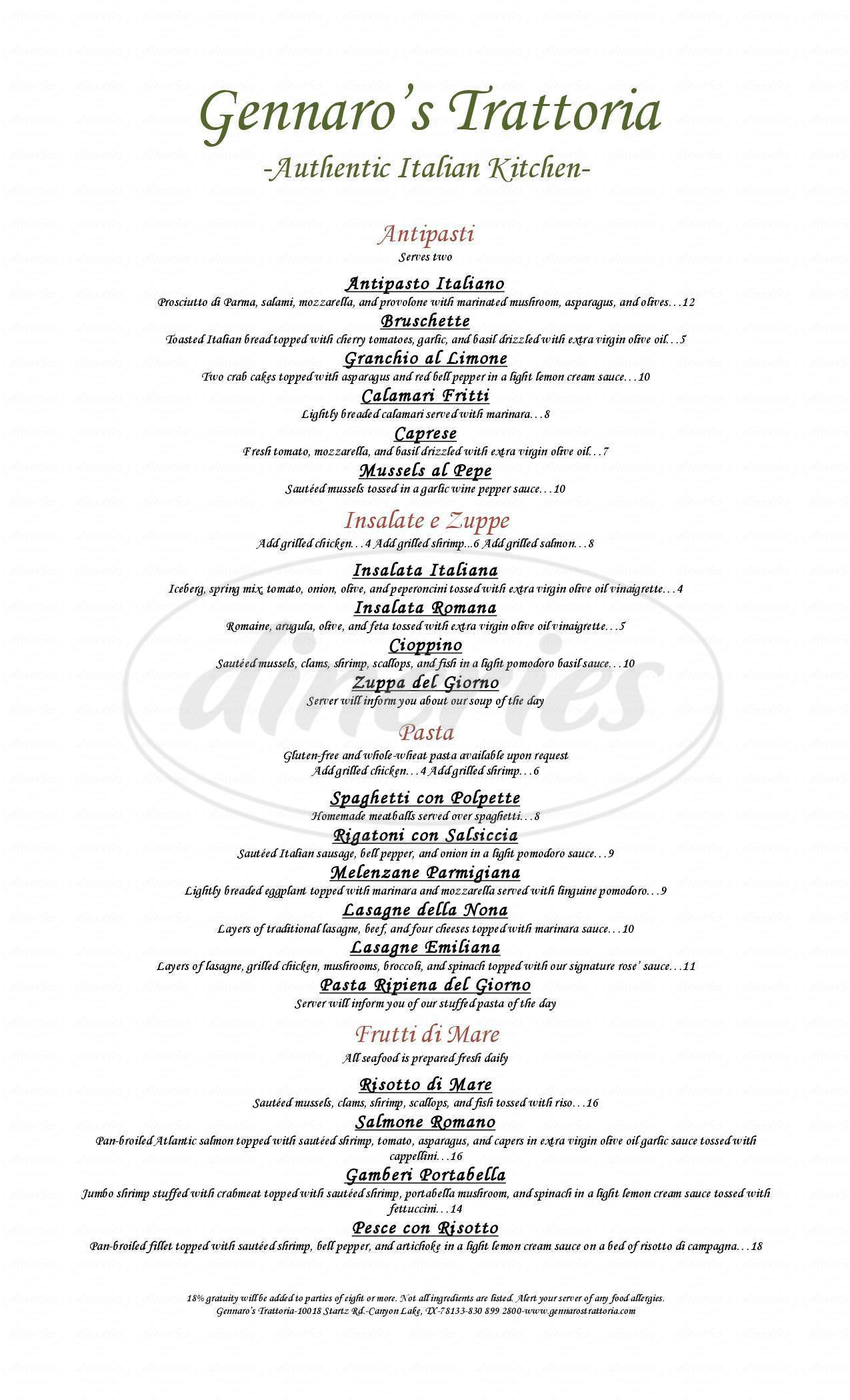 menu for Gennaros Trattoria