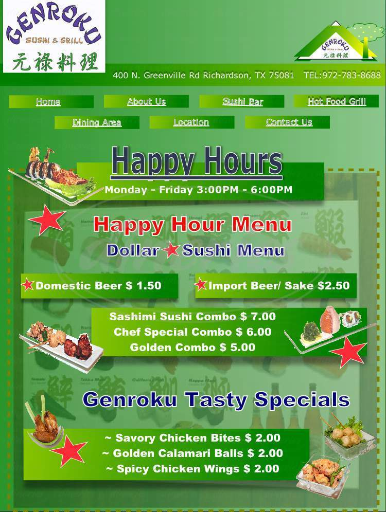 menu for Genroku Sushi & Grill