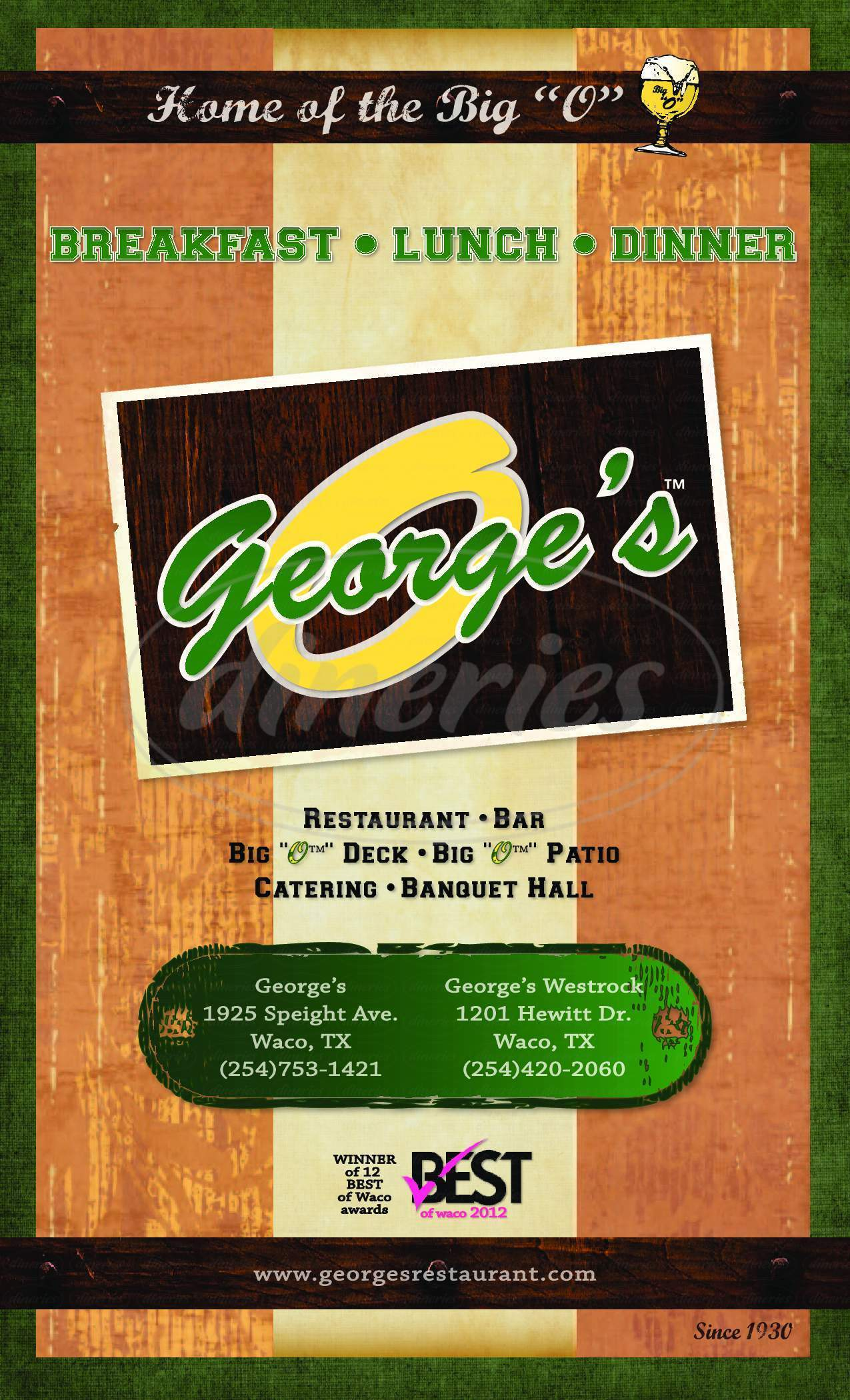 menu for George's Restaurant and Catering