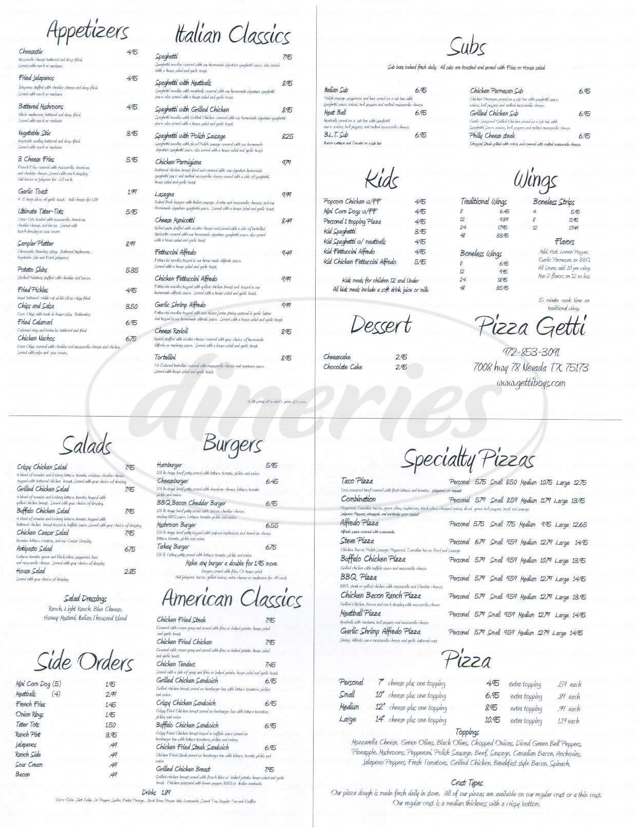 menu for Pizza Getti
