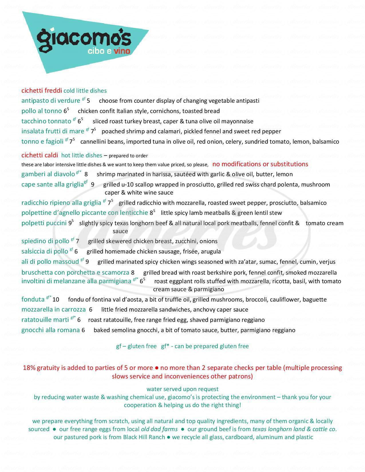 menu for Giacomo's Cibo e Vino