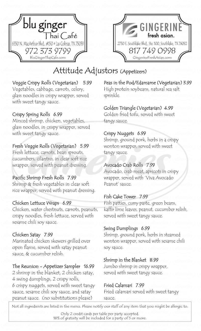 menu for Gingerine Fresh Asian