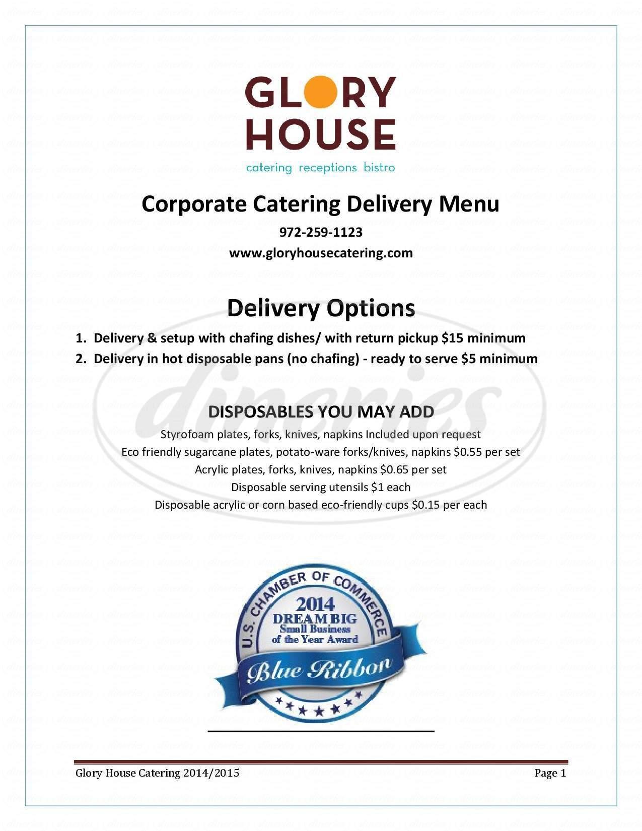 menu for Glory House Bistro