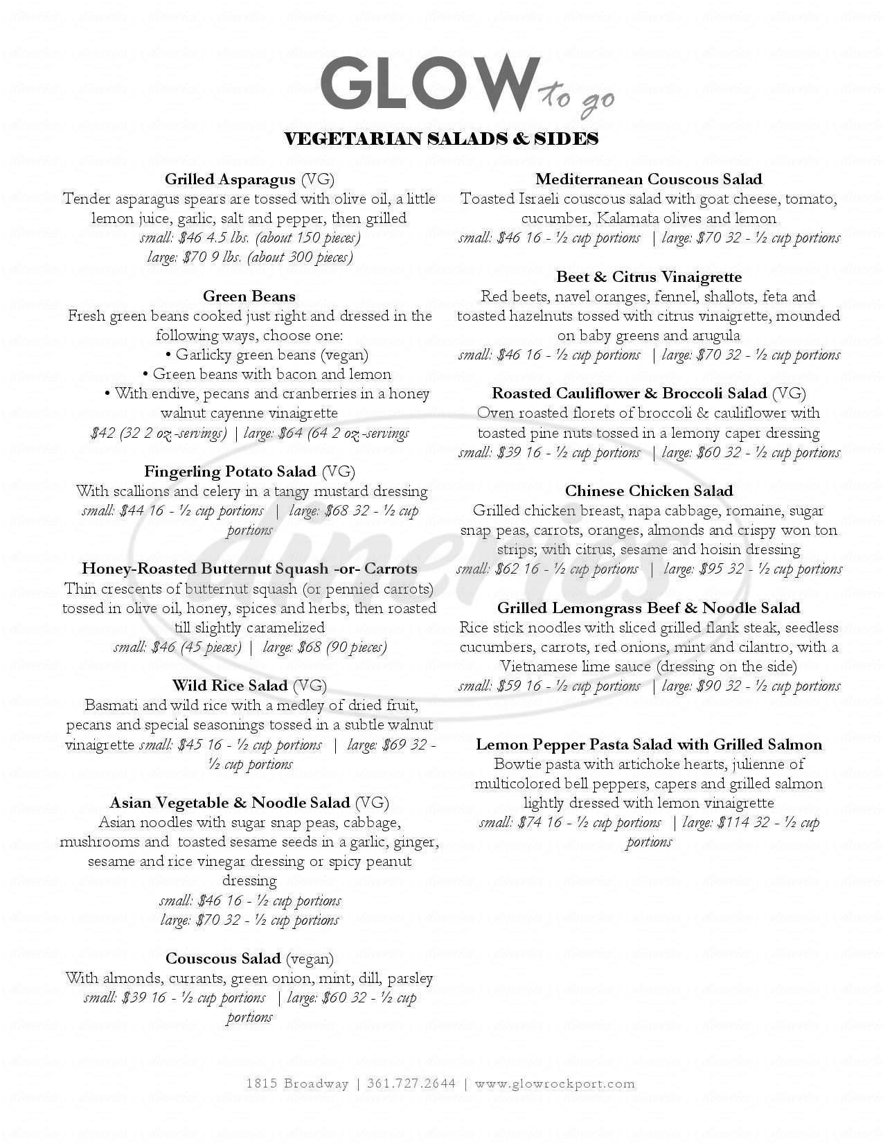 menu for Glow