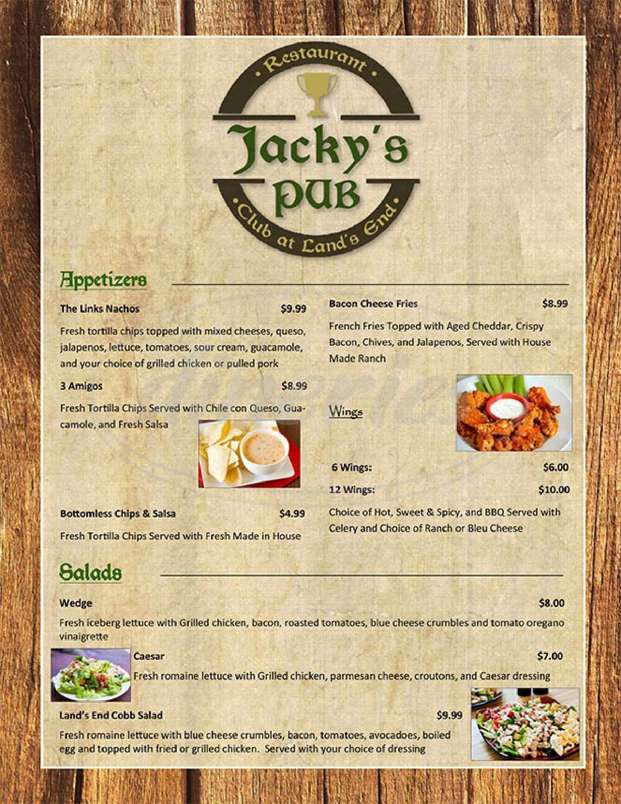 menu for Land's End