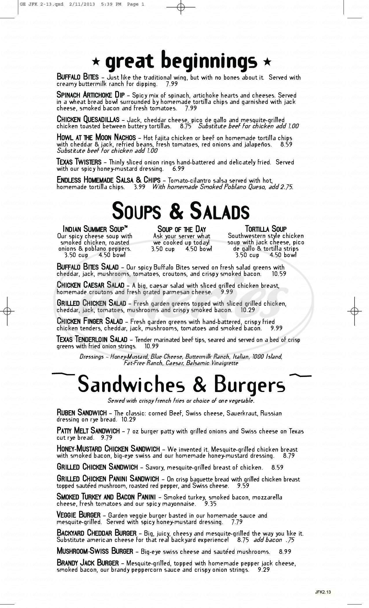 menu for Good Eats Grill
