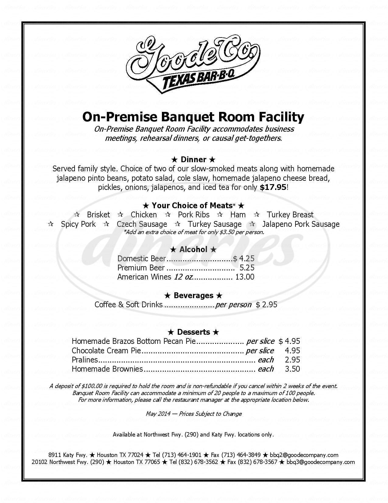 menu for Goode Company Barbeque