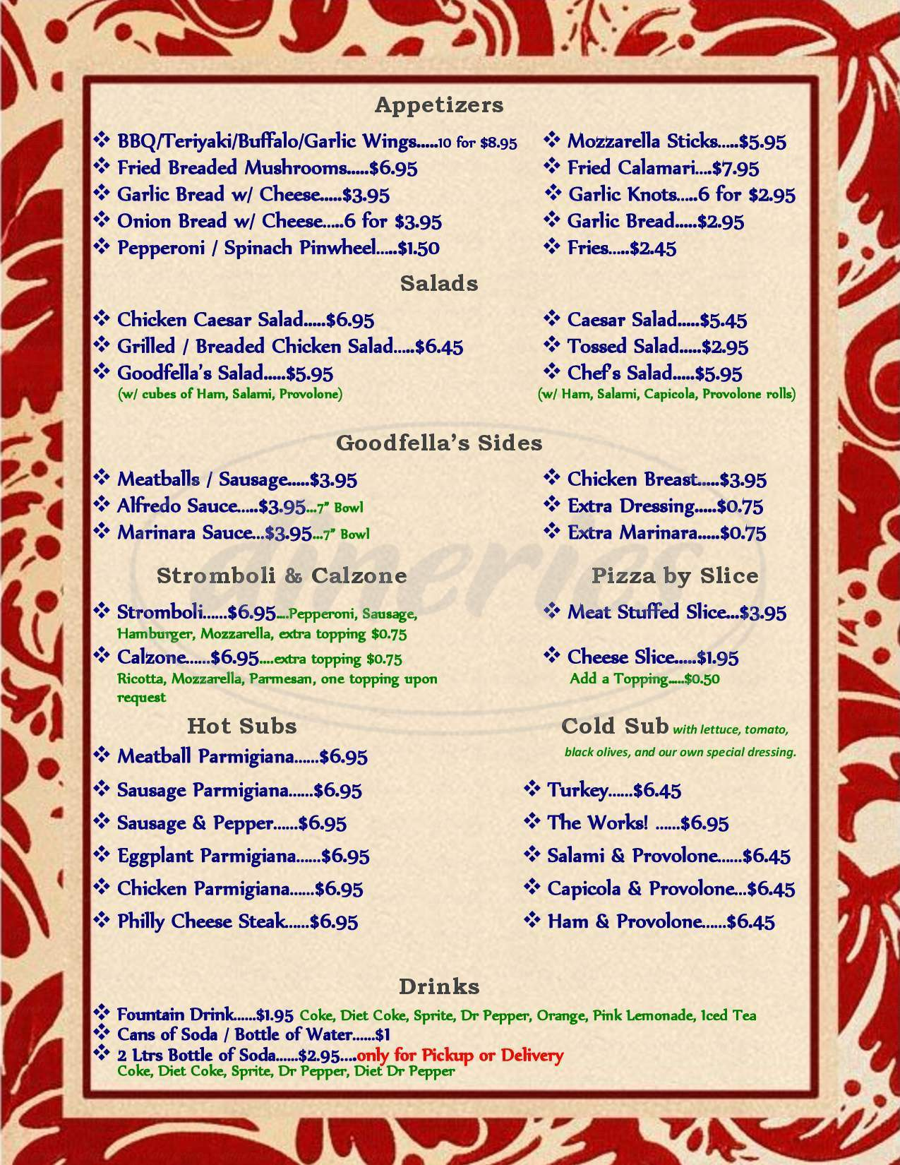 menu for Goodfella's Pizza