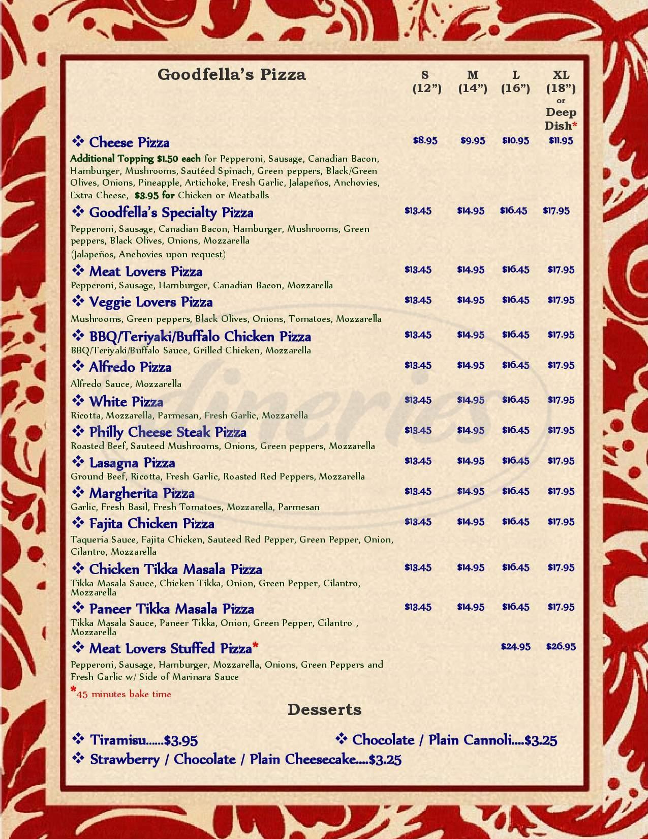 menu for Goodfella's Pizza