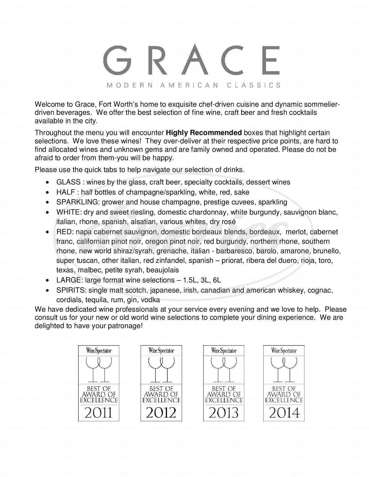 menu for Grace