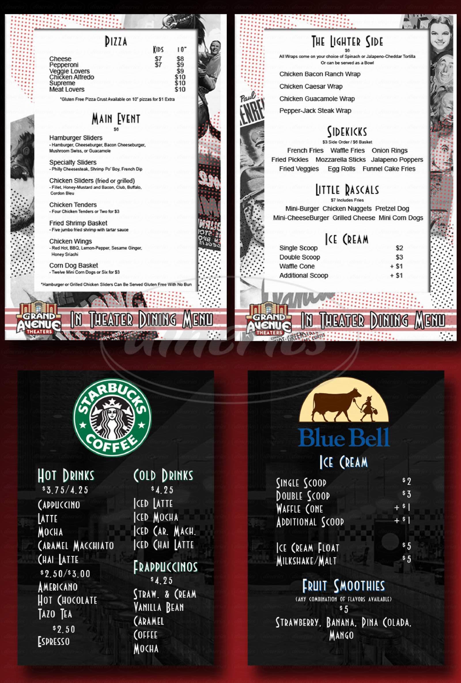 menu for Grand Avenue Theater